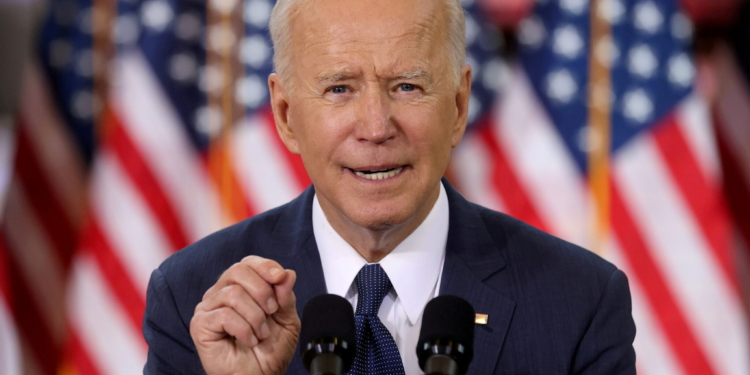 FILE PHOTO: U.S. President Joe Biden speaks about his $2 trillion infrastructure plan during an event to tout the plan at Carpenters Pittsburgh Training Center in Pittsburgh, Pennsylvania, U.S., March 31, 2021. REUTERS/Jonathan Ernst