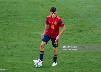 SEVILLE, SPAIN - JUNE 19: Pedri Gonzalez  of Spain looks on during the UEFA Euro 2020 Championship Group E match between Spain and Poland at Estadio La Cartuja on June 19, 2021 in Seville, Spain. (Photo by Diego Souto/Quality Sport Images/Getty Images)